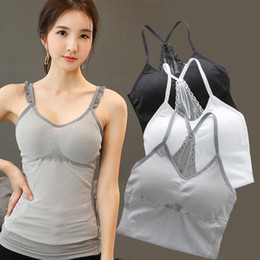 06a58a20d0 Sexy Women s Thin Shoulder Straps Built In Bra Padded Bra Tank Top Camis  Vest Summer Casual Lace Hollow Basic Shirt