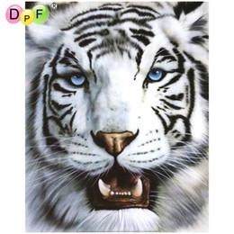 Tiger Tools Australia - DPF 5D full Round Diamond Painting DIY Magic Cube Cross Stitch Mosaic art craft blue eyes white tiger Diamond Embroidery Decor gift