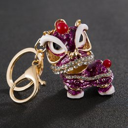 Universal Charm NZ - Fashion Key Chain Chinese Lion Dance Kylin Car Key Ring For Universal Cell Phone Straps Charms Womens Bags Decoration Hot Free Shipping A816