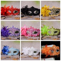 Wholesale Lace Feather Mask with Flowers Halloween Masks Masquerade Costume Mask Party Mask Festive Party Supplies CCA10088