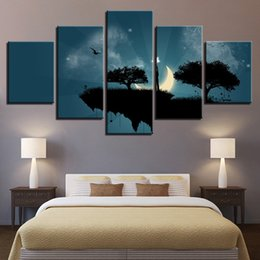 multi piece abstract canvas art Australia - Canvas Pictures Wall Art Framework HD Prints Abstract View Poster 5 Pieces Moon Star Steep Cliff Trees Swing Painting Home Decor