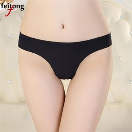 Discount invisible thong bikini - Hot Underwear Women Panties Solid Invisible Thong Coon Blends Spandex Gas Seamless Crotch Sexy Panties Sexy Lingerie A02
