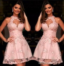 Robe De Soirée Formelle Pas Cher-Semi Formelle Robes de Cocktail 2017 Illusion Col Haut Blush Rose Dentelle Robes de Retour Sheer Cou Courte Prom Party Robes Sans Manches