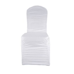 $enCountryForm.capitalKeyWord Canada - High Quality 100pcs White Ruffled Lycra chair cover, Banquet Wedding Spandex chair cover for Wedding Events&Party Decoration