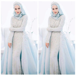 Chinese  2018 Elegant Muslim Sky Blue Mermaid Wedding Dresses Custom Beaded Crystal Pearls Beaded Romantic Formal Wedding Formal Bridal Gowns manufacturers