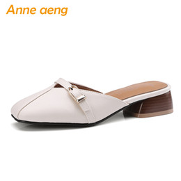 Black Blocks Canada - women slippers block heel shoes square toe sweet elegant ladies Mules outside shoes beige black women shoes big size 33-46