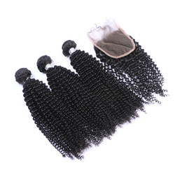 Chinese  Peruvian Human Hair Kinky Curly Hair Bundles With Closure 4Pcs lot Afro Curly Lace Closure With Hair Extensions For Black Woman manufacturers