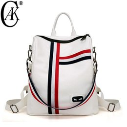 Backpack White Canada - Cak Fashion Women Backpack White Soft Leather School Backpacks For Teenage Girls Casual Large Capacity Shoulder Travel Bags 8221