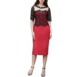 Mother Asymmetrical Dress NZ - Office Ladies Sexy Dress Women Lace Floral See Through Lace Party Dresses Evening Bridemaid Mother Bodycon XXL Summer Dress