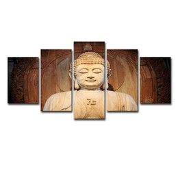 Buddhas Decor UK - Modern Home Wall Art Decor Framework Modular Canvas Pictures 5 Pieces Buddha Statue Painting HD Prints Buddha Art Poster