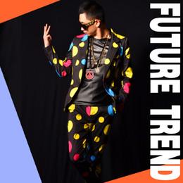 $enCountryForm.capitalKeyWord NZ - Male color wave point suit jacket pants nightclub bar performance costumes slim fashion blazer stage show prom party DJ DS for dancer singer