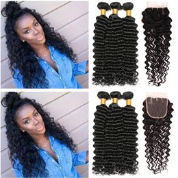 Discount human hair extensions brand - Rainbow Queen Brand Deep Wave With Lace Closure 100% Brazilian Hair Bundles Deep Wave Human Hair Weave Unprocessed Hair