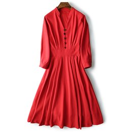 red neck wedding dresses UK - Women Dress simple elegant long shrink waist V-neck sexy retro OL Lady Button Thin dance party reception Wedding red bride dress