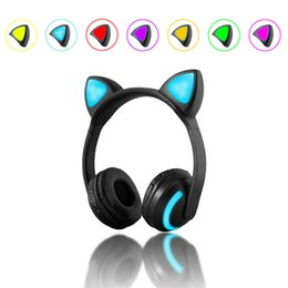 cat mobiles 2019 - Bluetooth Cute Music Headphones with Cats Ear Headset Glowing Flashing Earphone for Mobile Phone Tablet cheap cat mobile