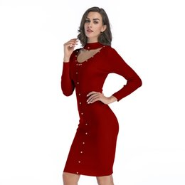 midi sweater UK - Kintted Sweater Dress Women Midi Bodycon Vestido Autumn Winter O Neck Long Sleeve Ribbed Casual Girl Party Dresses Neck BM0139