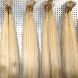 Venta al por mayor de Buena oferta Color 613 Extensión de cabello humano rubio a granel Cabello brasileño de onda recta barata A granel para trenzas Sin accesorio, Envío gratis