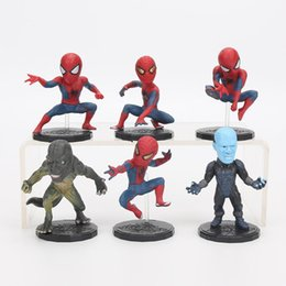 Batman Figure Wholesale Australia - Spiderman Homecoming Action Figures Cartoons 6 Pcs PVC Collectable Model Comics Heroes Spider Man for kids Gift Toys 6-7cm