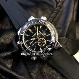 Discount swiss rubber - Brand Big Size 45mm Prodiver Double Date Black Dial Swiss Quartz Chronograph Mens Watch Stopwatch Left Handed Rubber Str