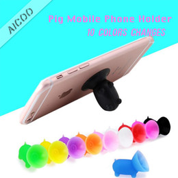 shaped cellphone 2019 - Universal Cute Mini Pig Shaped Silicone Colorful Phone Holder Rubber Cuction Cup Seat Lazy Cellphone Stand Holder Mount