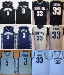 e96ec6739 University Georgetown Hoyas Jerseys Men Sale Basketball 3 Allen Iverson  Jersey 33 Patrick Ewing Uniform College Sport Breathable Top Quality