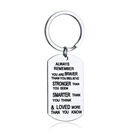 stainless steel keyrings wholesale UK - Stainless Steel To my Grandson Keychain Keyring Key Holder Gift Always Remember You are Braver Than You Believe