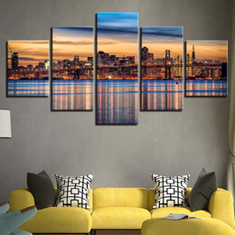 Canvas Prints Frame Australia - Home Decor Cuadros Modular Pictures 5 Panel City Night View Print Painting For Living Room Frame High Quality Canvas Poster