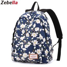 f685c3abb8956 Zebella Schultaschen Für Mädchen Im Teenageralter Blau Vintage Blume  Rucksäcke Blumendruck Weiblichen Reiserucksack Feminina