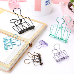 $enCountryForm.capitalKeyWord Australia - 9.6*4.8cm Cute Kawaii Colorful Metal Paper Clips Binder Clip For Photo Message Ticket File Office School Supplies Clips Stationery