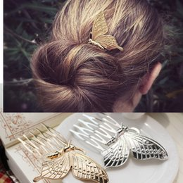 Butterfly hair comB wedding online shopping - Fashion new simple comb Girls butterfly shape hair accessories Yiwu headband claw clips Clamps