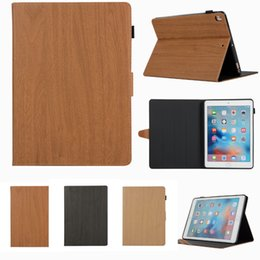 wooden stand for tablets 2019 - Leather Case For iPad 5 6 Air 1 2 Case Wooden Tablet Cover Stand Cases for Apple Protective Shell for ipad cheap wooden