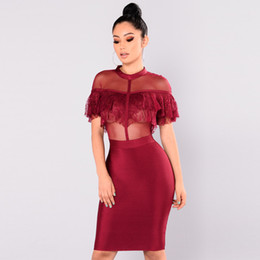 d8da8301a8581 2018 Sheer Mesh Lace Dress Women Fashion Sexy Ruffles Bodycon Dress  Turtleneck Short Sleeve Party Club Midi Dress Black Burgundy