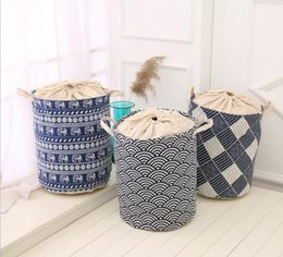 Folded Laundry Basket Canada - Cartoon animals Large Laundry Hamper fold waterproof of Clothes Storage Baskets Home clothes barrel Bags kids toy Storage barrels