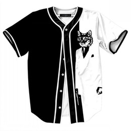 Baseball Jersey Shirts Tees Cool Cat Print 3D Hombres Hip Hop Tops Open Stitch Camiseta Hombre Harajuku Tee Shirt