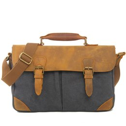 Cowboy oil online shopping - Leisure Canvas Bag Fund Restore Ancient Ways Portable Briefcase Match Luxury Cowboy Oil Skin Leather Bags Men Single Satchel