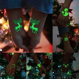 Glow Dark Hair Australia - Luminous Body Art Tattoo For Christmas Day Glowing in the dark Paint Temporary Fake Fluorescence Tattoo Stickers