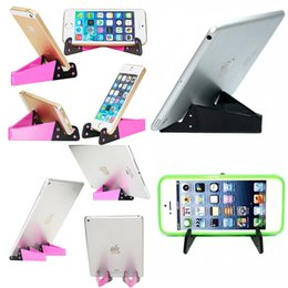 Foldable Desk Stand For Tablets NZ - Cell Phone Tablet Stand, Universal Foldable Pocket-sized Plastic V Smartphone CellPhone Desk Holder Mount for iPad, iPhone, Samsung E239