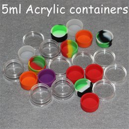 $enCountryForm.capitalKeyWord Australia - Wax acrylic Containers Silicone Jars Dab Wax Container 5ml Tin Dab Plastic Silicone Containers For Wax Pass FDA & LFGB Tests