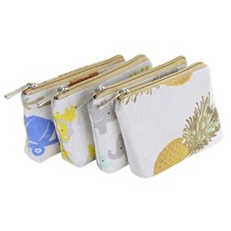 Discount women elephant wallet - 70PCS   LOT Women Cute Coin Bag Printing Pineapple Elephant Mini Simple Coin Purse Ladies Zipper Wallets Key Bag Pouch