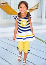 striped pants for kids NZ - New fashion summer toddler baby kids girls clothes striped marguerite flower top T-shirt + pants outfits 2pcs set fit for kids 2-8T