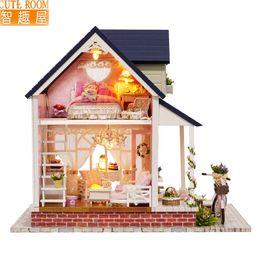 $enCountryForm.capitalKeyWord NZ - Furniture DIY Doll House Wodden Miniatura Doll Houses Furniture Kit DIY Puzzle Assemble Dollhouse Toys For Children gift A060