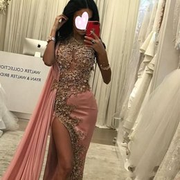 nude jewels sexy cocktail dresses NZ - 2019 Newest Sexy Illusion Mermaid Evening Dresses Jewel Neck Lace Appliques Beads High Side Split Red Carpet Gown Satin Long Cocktail Dress