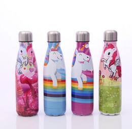 water bottle shapes wholesale 2019 - Unicorn Pattern Water Cup Insulation Mug 500ML Vacuum Bottle Sports 304 Stainless Steel Cola Bowling Shape Travel Mugs c