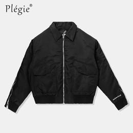 4451e7bb51b Plegie 2018 Winter Jacket Zipper Turn down Collar Solid Jacket Brand  Clothing Outerwear Hip Hop Loose Style Trendy Coats