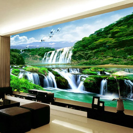large vintage poster Canada - Custom 3D Photo Poster Wallpaper Non-woven HD Falls Natural Landscape Large Mural Wallpaper Wall Covering Living Room Bedroom