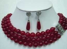 imitation ruby earrings Canada - hot sell new - shipping Fancy 3 Row Green Red stone Necklace Earring Ring Set