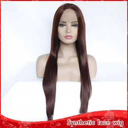 Discount black women long natural hair - Natural Soft Full Lace Wigs Brown Silky Straight Long Wigs for Black Women Heat Resistant Glueless Synthetic Lace Front