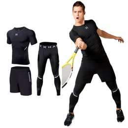Discount running speed suit - Fitness suits, men's three sets, speed clothes, stretch tights, basketball training suits, running clothes