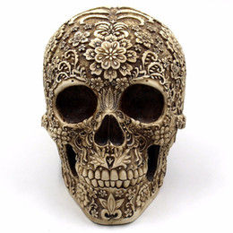 table resin UK - Horror Home Table Grade Decorative Craft Human Horror Resin Skull Bone Skeletons Halloween Decoration Flower Ornaments Skeleton