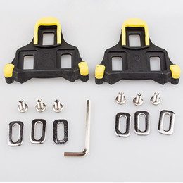 Wholesale New Road Bicycle Self locking Pedal Cleat Shoes Lock Cycling Pedal Lock Road Bike Cleat Yellow Red Colors
