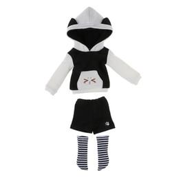 Lindo Oreja de Gato Sudadera Con Capucha Pantalones Medias Traje Traje Para 1/6 BJD SD LUTS Muñecas Viste Dollfle Ropa Negro Accesorios Muñeca